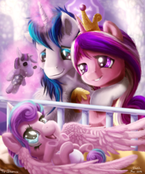 Size: 1250x1500 | Tagged: safe, artist:skodadav, princess cadance, princess flurry heart, shining armor, smarty pants, pony, spoiler:s06, baby, baby alicorn, baby blanket, baby flurry heart, baby pony, blanket, crib, cute, dawwww, diaper, diapered, diapered filly, fluffy, flurrybetes, grin, happy, happy baby, hug, infant, infant flurry heart, levitation, light pink diaper, lying down, magic, newborn, newborn baby, newborn baby flurry heart, newborn filly, newborn flurry heart, newborn infant, newborn infant flurry heart, on back, open mouth, reaching up, smiling, telekinesis, underhoof