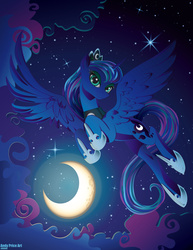 Size: 2550x3300 | Tagged: alicorn, artist:andypriceart, cloud, crescent moon, crown, cute, digital art, eyelashes, eyeshadow, featured image, female, flying, high res, hoof shoes, horn, jewelry, lidded eyes, looking at you, lunabetes, majestic, makeup, mare, moon, night, night sky, peytral, pony, princess luna, regalia, safe, sky, smiling, solo, spread wings, stars, sweet dreams fuel, vector, wing fluff, wings