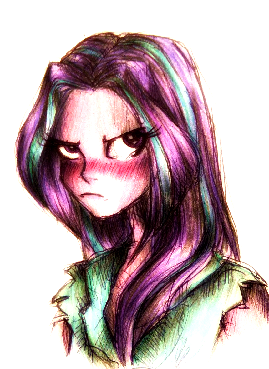 1114126 aria blaze artistbuttersprinkle blushing colored pencil drawing equestria girls grumpy loose hair pen drawing safe solo