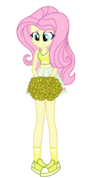 Size: 1800x3500   Tagged: safe, alternate version, artist:mixiepie, fluttershy, equestria girls, belly button, cheerleader, clothes, female, midriff, pleated skirt, pom pom, shoes, simple background, skirt, sneakers, socks, solo, transparent background, vector