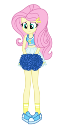 Size: 1800x3500 | Tagged: safe, artist:mixiepie, fluttershy, equestria girls, belly button, canterlot high, cheerleader, clothes, female, midriff, pleated skirt, pom pom, school spirit, shoes, simple background, skirt, smiling, sneakers, socks, solo, sports bra, transparent background, vector, wondercolts