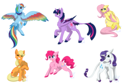 Size: 1600x1076 | Tagged: alicorn, applejack, artist:bluesidearts, classical unicorn, female, fluttershy, leonine tail, mane six, mare, pinkie pie, pony, rainbow dash, rainbow feathers, rarity, safe, spread wings, tail feathers, twilight sparkle, twilight sparkle (alicorn), unshorn fetlocks