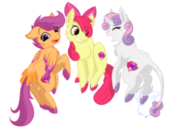 Size: 1800x1350 | Tagged: apple bloom, artist:bluesidearts, classical unicorn, cutie mark, cutie mark crusaders, floating, fluffy, leonine tail, safe, scootaloo, sweetie belle, tail feathers, the cmc's cutie marks