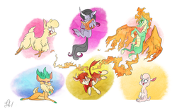 Size: 3348x2096 | Tagged: safe, artist:fluttershythekind, arizona (tfh), oleander (tfh), paprika (tfh), pom (tfh), tianhuo (tfh), velvet (tfh), alpaca, classical unicorn, cow, deer, lamb, longma, reindeer, sheep, them's fightin' herds, book, cloven hooves, commission, community related, draw me like one of your french girls, female, fightin' six, leonine tail, reading