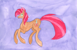 Size: 1024x663   Tagged: safe, artist:enuwey, babs seed, cutie mark, female, solo, traditional art