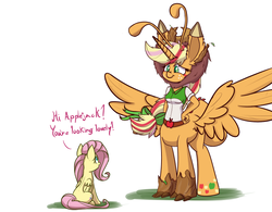 Size: 800x625   Tagged: safe, alternate version, artist:heir-of-rick, derpibooru exclusive, applejack, fluttershy, alicorn, breezie, centaur, monster pony, original species, tatzlpony, anthro, taur, equestria girls, applecorn, applelion, blatant lies, centaurjack, clothes, costume, equestria girls outfit, freckles, fusion, impossibly large ears, not salmon, pegataur, ponytaur, race swap, rainbow power, species swap, tatzljack, this isn't even my final form, timber wolfified, timberjack, wat, what has magic done, what has science done, why