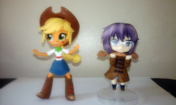 Size: 1280x768 | Tagged: safe, applejack, equestria girls, clothes, doll, equestria girls minis, eqventures of the minis, melancholy of haruhi suzumiya, nagato yuki, nendoroid, skirt, toy
