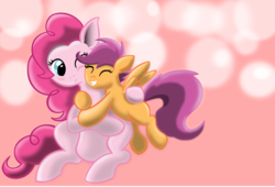 Size: 1674x1138 | Tagged: safe, artist:davetempest, pinkie pie, scootaloo, duo, female, hug, lesbian, scootapie, shipping