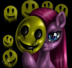Size: 1000x950 | Tagged: safe, artist:vanezaescobedo, pinkie pie, crying, mask, pinkamena diane pie, smiley face, solo