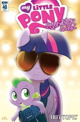 Size: 600x923 | Tagged: safe, artist:tonyfleecs, idw, spike, twilight sparkle, spoiler:comic40, baby, baby dragon, baby spike, cover, filly, glasses, hot topic, mama twilight, my little pony logo, parody, reference, sunglasses, the hangover, younger