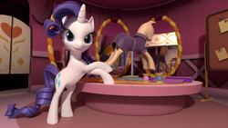 Size: 1920x1080   Tagged: safe, artist:meshnotfound, rarity, pony, 3d, bipedal, bipedal leaning, blender, carousel boutique, clothes, dress, fabric, female, looking at you, mannequin, mirror, ponyquin, smiling, solo, spool, sticky note, thread