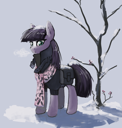 Size: 957x1000 | Tagged: safe, artist:nottex, maud pie, earth pony, pony, clothes, coat, female, flower, looking at you, saddle bag, scarf, snow, solo, three quarter view, tree, winter
