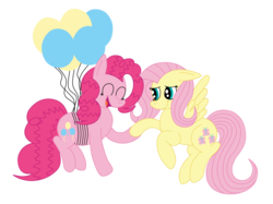Size: 2592x1936 | Tagged: artist:squipycheetah, balloon, cute, diapinkes, earth pony, eyes closed, floating, floppy ears, flutterpie, fluttershy, flying, happy, holding hooves, lesbian, open mouth, pegasus, pinkie pie, pony, safe, shipping, shyabetes, simple background, smiling, spread wings, string, strings, then watch her balloons lift her up to the sky, transparent background, vector