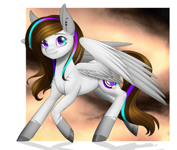 Size: 1694x1436 | Tagged: safe, artist:noodlefreak88, oc, oc only, oc:blitsazalisdash, hybrid, pegasus, pony, female, solo, speedpaint, youtuber
