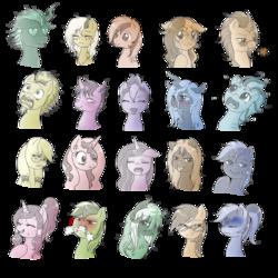 Size: 894x894 | Tagged: safe, artist:evomanaphy, oc, oc only, oc:angelwarrior, oc:army, oc:black fantasy, oc:da4k, oc:emerald chord, oc:evo, oc:icey flame, oc:krystal shard, oc:mad theory, oc:magix, oc:metal tune, oc:nautica, oc:nova crystal, oc:ophelia, oc:rainbow shade, oc:serenity, oc:stardust, oc:sunny, oc:thunderbolt, oc:witches, alicorn, changeling, earth pony, original species, pegasus, unicorn, ahegao, angry, blushing, crying, drool, duckface, evorald, evune, eyes closed, group, heart eyes, looking at you, monochrome, oarfish pony, open mouth, portrait, scared, sketch, sketch dump, tired, tongue out, wingding eyes