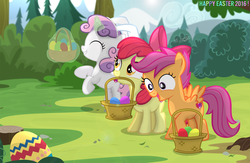 Size: 2981x1944 | Tagged: safe, artist:shutterflyeqd, apple bloom, scootaloo, sweetie belle, bunny ears, cutie mark, cutie mark crusaders, easter, easter egg, magic, open mouth, the cmc's cutie marks