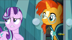 Size: 1920x1080 | Tagged: safe, screencap, starlight glimmer, sunburst, the crystalling, discovery family logo, door, frown, gritted teeth, nervous, smiling