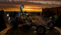 Size: 3304x1886 | Tagged: safe, artist:willhemtier, oc, oc only, oc:sapphire sights, oc:swift note, augmented, buggy, car, dune buggy, joule, military, military uniform, ponies and vehicles, post-apocalyptic, sunset, tents, vehicle, wasteland