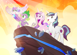 Size: 1200x850 | Tagged: safe, artist:pixelkitties, princess cadance, princess flurry heart, shining armor, spike, alicorn, dragon, pony, unicorn, the crystalling, crystal, female, filly, foal, male, mare, parody, pride rock, scene parody, spread wings, stallion, that was fast, the lion king, wings