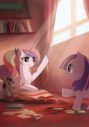 Size: 1280x1829 | Tagged: safe, artist:larest, princess cadance, smarty pants, twilight sparkle, crepuscular rays, fanfic art, filly, filly twilight sparkle, how to remove a unicorn tooth, pillow, prone, teen princess cadance, young, young twilight, younger