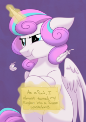 Size: 1400x2000 | Tagged: safe, artist:itstaylor-made, princess flurry heart, alicorn, pony, the crystalling, :t, crossed hooves, feather, female, floppy ears, glare, grumpy, levitation, magic, mare, older, older flurry heart, pony shaming, pouting, shame, sitting, solo, telekinesis, that was fast