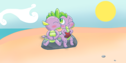 Size: 2800x1401   Tagged: safe, artist:chiptunebrony, spike, adorkable, barb, barbabetes, beach, blue sky, blushing, book, boulder, brother and sister, cloud, cute, dork, eyes closed, female, kiss on the cheek, kissing, looking up, love, male, pebbles, rock, romance, romantic, rule 63, rule63betes, sand, self ponidox, selfcest, shipping, sitting, smiling, spikebarb, story, straight, sun