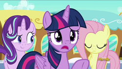 Size: 1280x720 | Tagged: safe, screencap, fluttershy, starlight glimmer, twilight sparkle, alicorn, pony, the crystalling, discovery family logo, female, mare, twilight sparkle (alicorn)