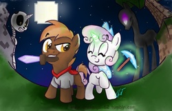 Size: 1098x705 | Tagged: safe, artist:vago-xd, button mash, sweetie belle, enderman, enderpony, skeleton pony, don't mine at night, bone, diamond pickaxe, diamond sword, levitation, magic, minecraft, moon, mouth hold, night, pickaxe, raised hoof, skeleton, sweetie belle's magic brings a great big smile, sword, telekinesis, weapon, wide angle