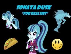 Size: 960x720 | Tagged: safe, sonata dusk, siren, equestria girls, rainbow rocks, food, ponified, smiley face, taco