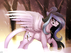Size: 1024x768 | Tagged: safe, artist:orfartina, oc, oc only, pegasus, pony, chest fluff, female, leg fluff, mare, profile, snow, snowfall, solo, spread wings, tree, walking, wings, winter