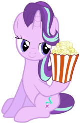 Size: 7000x10900 | Tagged: safe, artist:lahirien, artist:tardifice, starlight glimmer, the crystalling, absurd resolution, eyes on the prize, female, food, hoof hold, lidded eyes, photoshop, popcorn, simple background, sitting, smiling, solo, transparent background, vector