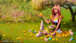 Size: 1200x675   Tagged: safe, artist:tsvetka, fluttershy, butterfly, human, rabbit, chick, easter, easter egg, female, humanized, solo