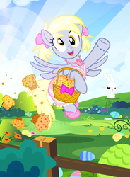Size: 735x1000   Tagged: safe, artist:pixelkitties, angel bunny, derpy hooves, pegasus, pony, alternate hairstyle, basket, clothes, cute, derpabetes, dress, easter, female, food, mare, muffin, open mouth, that pony sure does love muffins