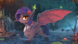 Size: 2500x1406   Tagged: safe, artist:yakovlev-vad, oc, oc only, bat pony, butterfly, pony, flower, flower in hair, lilypad, looking at you, night, river, scenery, scenery porn, solo, spread wings, water