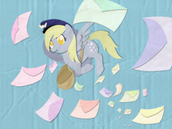 Size: 1600x1195 | Tagged: safe, artist:zoeezoee, derpy hooves, pegasus, pony, female, mail, mailbag, mare, solo