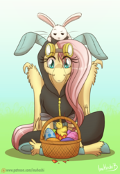 Size: 800x1159 | Tagged: safe, artist:inuhoshi-to-darkpen, angel bunny, fluttershy, pegasus, pony, basket, bunny ears, chick, clothes, costume, dangerous mission outfit, easter, easter egg, female, goggles, hoodie, mare, patreon, patreon logo, unshorn fetlocks