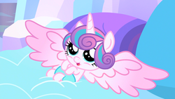 Size: 1779x1001 | Tagged: safe, screencap, princess flurry heart, pony, the crystalling, baby, baby pony, cute, diabetes, diaper, female, flurrybetes, happy, open mouth, smiling, solo, weapons-grade cute