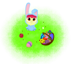 Size: 3048x2686 | Tagged: safe, artist:lpslover482, apple bloom, adorabloom, bunny bloom, bunny costume, clothes, cute, easter, easter egg, solo