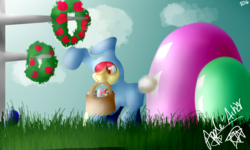 Size: 1000x600 | Tagged: safe, artist:apple-artist-mlp, apple bloom, adorabloom, bunny bloom, bunny costume, clothes, cute, easter, easter egg, solo