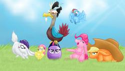 Size: 3500x2000 | Tagged: safe, artist:meskitt, applejack, discord, fluttershy, pinkie pie, rainbow dash, rarity, twilight sparkle, bird, rabbit, birdified, bunnified, bunny pie, bunnyjack, easter, egg, egghead, mane six, pun, rabbity, rainbird dash, species swap, transformation