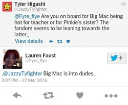 Size: 479x394   Tagged: safe, big macintosh, implied gay, lauren faust, meta, text, twitter, word of faust