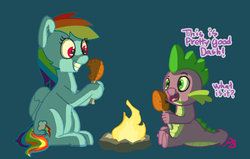 Size: 1280x812 | Tagged: artist:pabbley, dragon, drumstick, female, fire, food, grin, male, meat, pegasus, ponies eating meat, pony, rainbow dash, rainbowspike, safe, shipping, spike, spike don't care about meat, straight