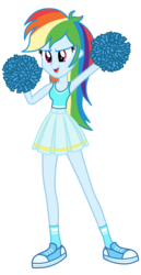 Size: 1800x3500 | Tagged: safe, alternate version, artist:mixiepie, rainbow dash, equestria girls, belly button, cheerleader, cleavage, clothes, female, midriff, open mouth, pleated skirt, pom pom, school spirit, shoes, simple background, skirt, sneakers, socks, solo, tanktop, transparent background