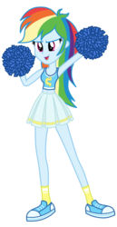 Size: 1800x3500 | Tagged: safe, artist:mixiepie, rainbow dash, equestria girls, belly button, canterlot high, cheerleader, cleavage, clothes, female, midriff, open mouth, pleated skirt, pom pom, school spirit, shoes, simple background, skirt, sneakers, socks, solo, tanktop, transparent background, wondercolts