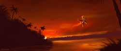 Size: 2350x1000 | Tagged: dead source, safe, artist:shamanguli, spitfire, bird, pony, female, fire, flying, forest, grass, palm tree, rainforest, river, scenery, scenery porn, smoke, solo, sunset, tree, water