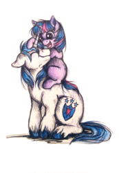 Size: 864x1248 | Tagged: safe, artist:buttersprinkle, shining armor, twilight sparkle, bbbff, blank flank, brother and sister, colored pencil drawing, cute, duo, eyes closed, filly, filly twilight sparkle, floppy ears, happy, male, shining adorable, siblings, smiling, teen shining armor, teenager, traditional art, twiabetes, unshorn fetlocks, younger