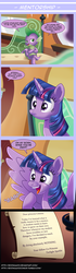 Size: 1200x4298   Tagged: safe, artist:edowaado, princess celestia, spike, starlight glimmer, twilight sparkle, alicorn, pony, the crystalling, comic, dialogue, female, frown, lesson, letter, mare, open mouth, scroll, smiling, smirk, spread wings, starry eyes, twilight sparkle (alicorn), uselesstia, wide eyes, wingboner, wingding eyes