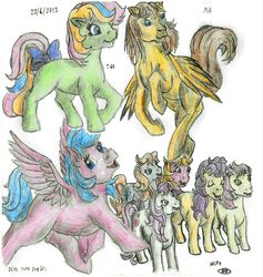 Size: 887x934 | Tagged: artist:elfman83ml, blank flank, bon bon (g1), clover (g1), firefly, g1, lofty, mimic (g1), my little pony tales, patch (g1), safe, starlight, sweetheart, traditional art