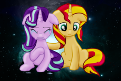 Size: 1195x796 | Tagged: safe, artist:majkashinoda626, starlight glimmer, sunset shimmer, pony, unicorn, comforting, counterparts, crying, duo, female, floppy ears, mare, pain, sad, sadlight glimmer, space, sunsad shimmer, twilight's counterparts