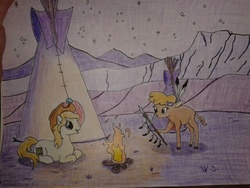Size: 640x480   Tagged: safe, artist:hickory17, little strongheart, oc, oc:hickory switch, buffalo, earth pony, pony, blonde mane, blue eyes, cowboy hat, female, fire, hat, hickory's journey, male, night, scenery, show accurate, spear, stallion, stars, stetson, tipi, traditional art, weapon, white pony